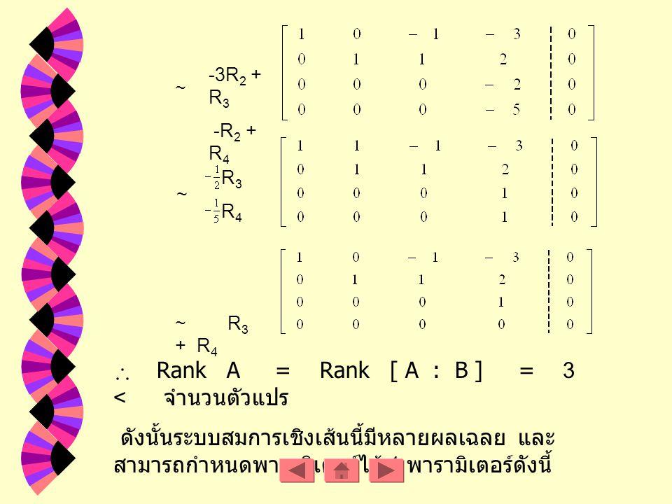Rank A = Rank [ A : B ] = 3 < จำนวนตัวแปร